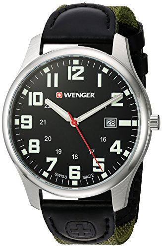 Wenger-Mens-City-Active-Swiss-Quartz-Stainless-Steel-and-Nylon-Casual-Watch-ColorGreen-Model-011441113