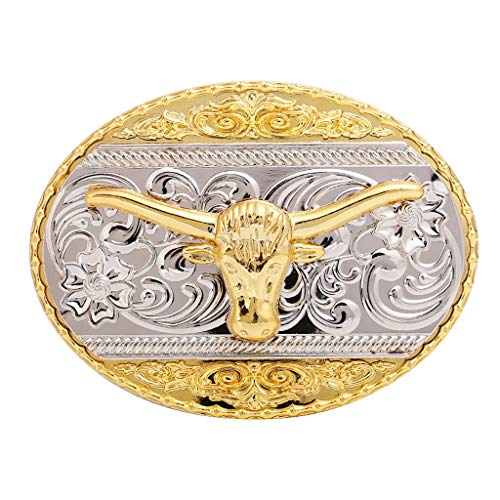 (Long Horn Bull Western Belt Buckle Gold Plated Rodeo Texas Cowboy Large Western Buckles)