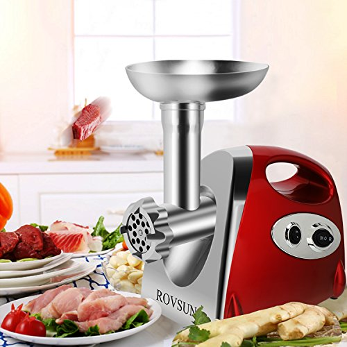 ROVSUN Electric Meat Grinder, 800W Stainless Steel Mincer Sausage Stuffer, Heavy Duty Food Processor with 4 Grinding Plates - 3 Sausage Tubes - 2 Blades - Kubbe Attachment & Brush, ETL Approved by ROVSUN (Image #8)