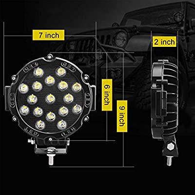 51W Led Work light, HILLSKING 51W 5100LM LED Light Bar, Blake Round Spot Light Pods Off Road Driving Lights Fog Bumper Roof Light for Boat, Jeep, SUV, Truck, Hunters, Motorcycle, 2 years Warranty: Automotive