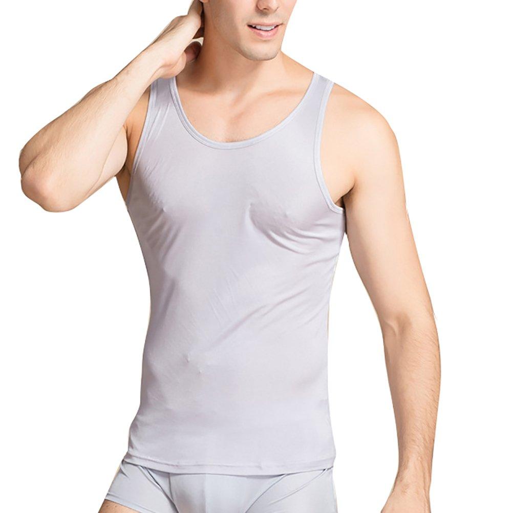 LingDooo Mens Pure Silk Tank Top High Stretch Solid Summer Vest Sleeveless Shirt (L(Tag 2XL), Grey)