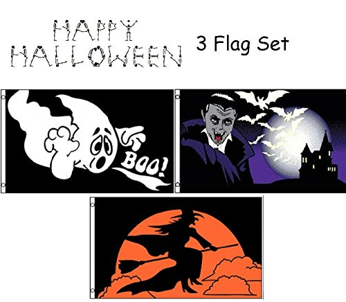 ALBATROS 3 ft x 5 ft Happy Halloween 3 Flag Set #7 House Banner Grommets for Home and Parades, Official Party, All Weather Indoors -