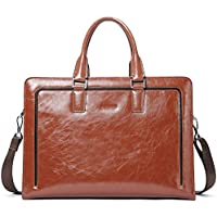 """BOSTANTEN Women Genuine Leather Briefcase Tote Business Vintage Handbag 15.6"""" Laptop Shoulder Bag"""