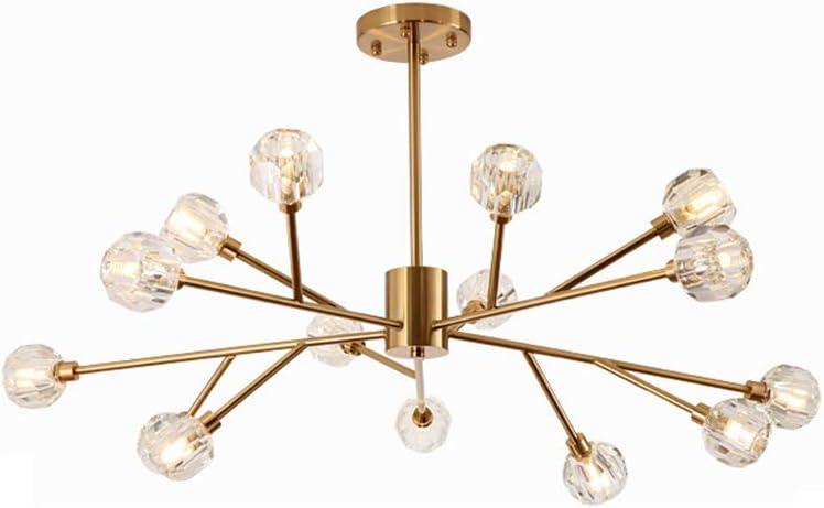 RTRY moderno romántico lámpara de la sala de estar Nordic pendientes de la lámpara, ramas de árboles arte bola transparente de cristal Lámparas de luz 9, Sala, Oro (Size : 15head)