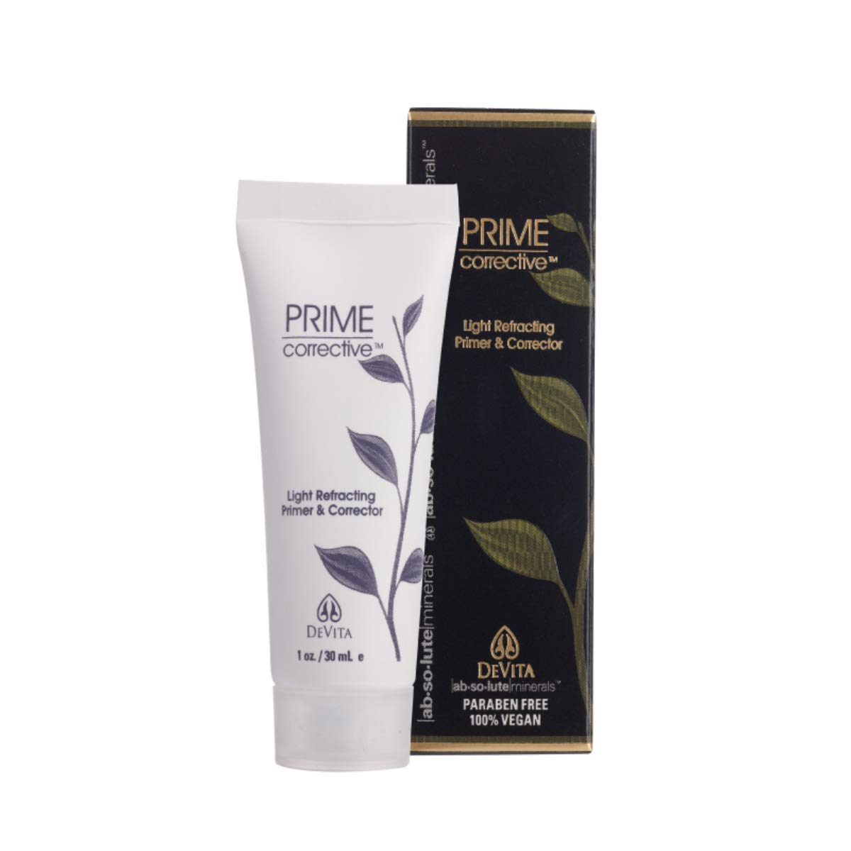 Prime Corrective - clear facial primer and corrector to help neutralize imperfections without colored pigments, to minimize the look of wrinkles and facial pores. Vegan & Paraben Free.