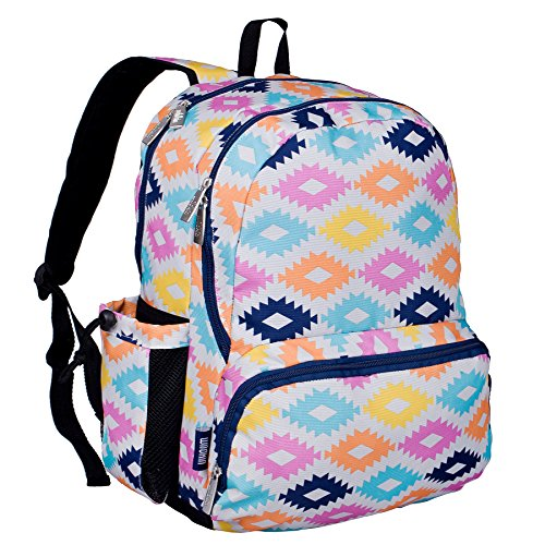 Wildkin 17 Inch Backpack, Durable Backpack with Padded Straps, Three Zippered Compartments, Moisture-Resistant Lining, and Two Side Pockets – Aztec