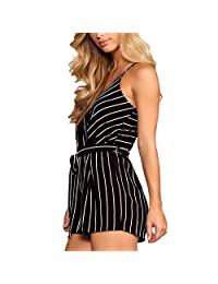 Luxspire Women's Sexy Sleeveless Striped Sling Jumpsuits Rompers Pants Backless Siamese Trousers