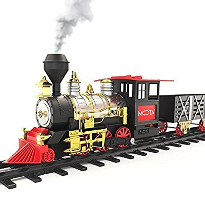 MOTA Classic Toy Train with Real Smoke - Signature Lights and Sounds - Full Set with Locomotive Engine and Cars, Tracks: Toys & Games