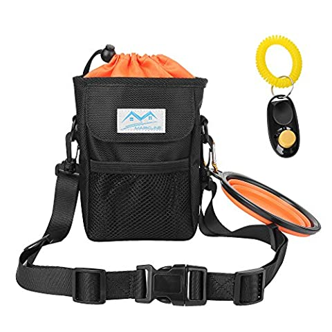 Treat Pouch Dog Training Bag - Markline Adjustable Waist Belt Clip Collapsible Dog Bowl Training Clicker Poop Bag Dispenser Carry Toys Treats Kibble Phone - Revolution Dog