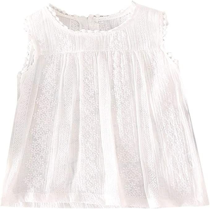 ACEBABY Camisa Niña Blanca Top sin Mangas con Panel de Encaje Sólido para Niñas, Vacaciones de Verano en la Playa, Fiesta: Amazon.es: Ropa y accesorios
