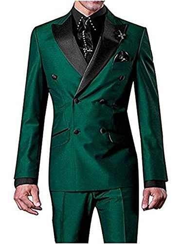 Tuxedo Breasted Jacket Double Peak (Men's Vintage 2 Pieces Blazer &Trousers Double Breasted Tuxedos Business Suit(Green,Customized Size))