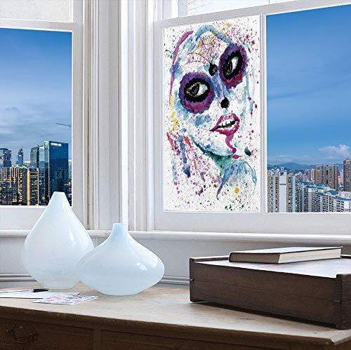 TecBillion Vinyl Window Film,Girls,Work Well in The Bathroom,Grunge Halloween Lady with Sugar Skull Make -