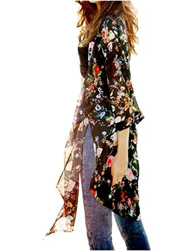 [ハナミー] レディース ガウン 花柄 ロング カーディガン シフォン シースルー 薄手 軽い 刺繍