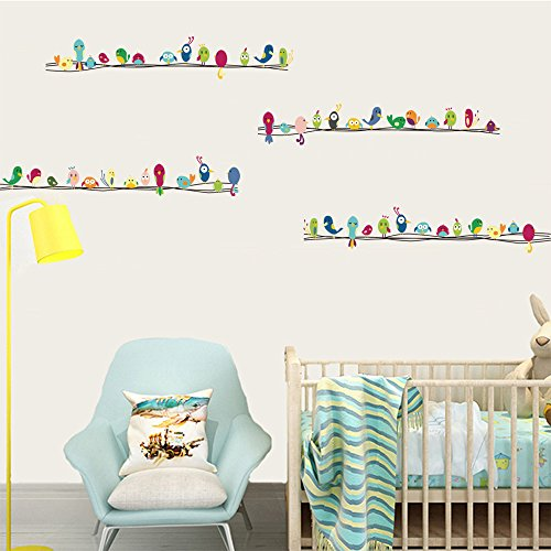 DecalMile Colorful Birds Wall Stickers Kids Room Wall Decor