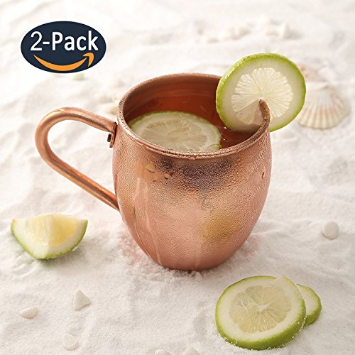 Magisor Moscow Mule Copper Mugs 100% Handcraft Pure Solid Copper Mug with Brass Handle 18.5 oz 2 Set