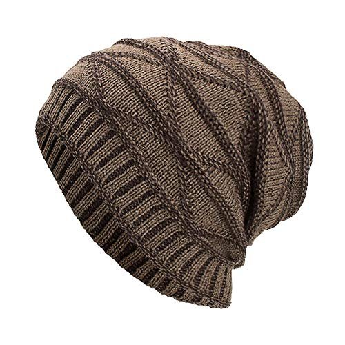 iYBUIA Women Men Warm Baggy Weave Crochet Winter Wool Knit Ski Beanie Skull Caps Hat(Khaki ,One -