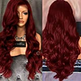Women Long Wavy Lace Front Free Part Synthetic Wig 31.5'' Heat Resistant Wigs by FUNOC (Wine red)