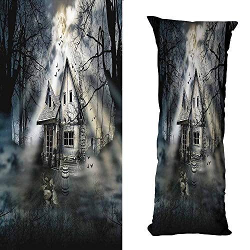 DuckBaby Fashion Pillowcase Halloween Haunted House with Dark Horror Atmosphere Cloudy Mysterious Frightening with Hidden Zipper W16 xL47 Grey White Black ()