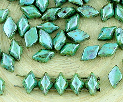 60pcs Picasso Brown Green Blue Purple Opaque Luster Matubo GemDuo Rhombus Diamond Two 2 Hole Czech Glass Beads Gem Duo 8mm x 5mm ()