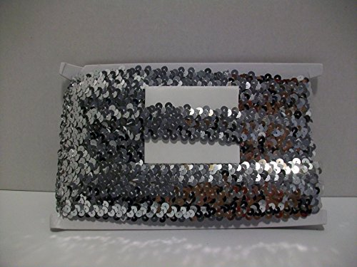 Metallic Stretch Sequin Trim, 10 Yards (Silver) (Stretch Trim Sequin Metallic)