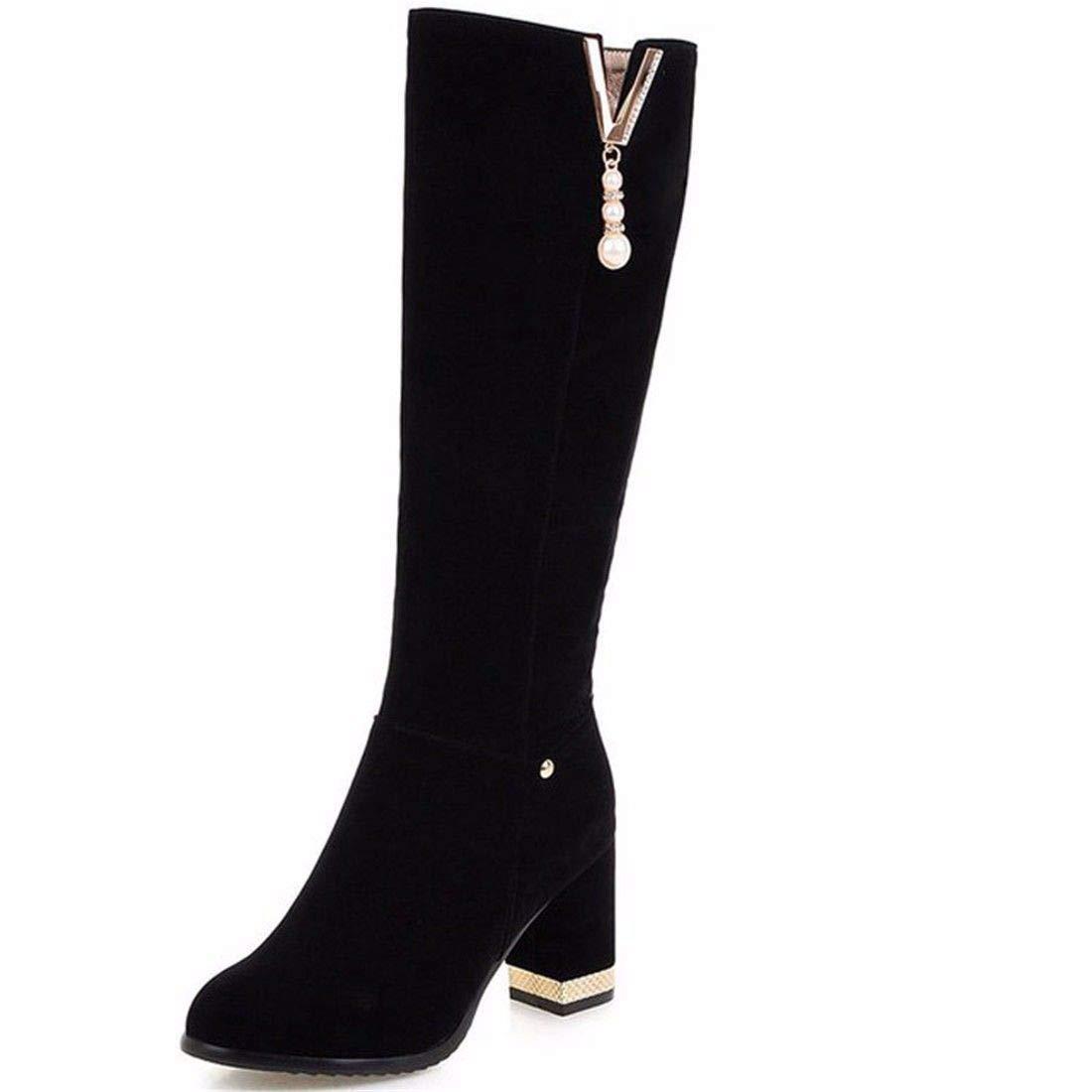 AIKAKA Frauen Herbst und Winter Europa und Amerika Sexy warme High Heel Schuhe Hohe Tube Stiefel