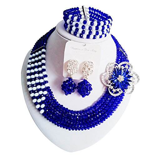 Blushing Bride Costumes (laanc 5 Rows Mutilcolor Crystal African Beads Jewellery Sets,Nigeria Wedding Beads Jewelry Sets (Royal Blue and White))