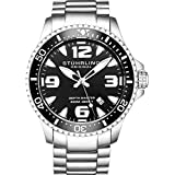 Stuhrling Original Ltd Edition Mens Pro Dive Watch Swiss Quartz 200 Meter Water Resistant Unidirectional Ratcheting Bezel Stainless Steel Bracelet Screw Down Crown Sport Watch (Black)