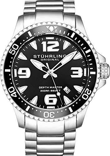(Stuhrling Original Ltd Edition Mens Pro Dive Watch Swiss Quartz 200 Meter Water Resistant Unidirectional Ratcheting Bezel Stainless Steel Bracelet Screw Down Crown Sport Watch (Black))