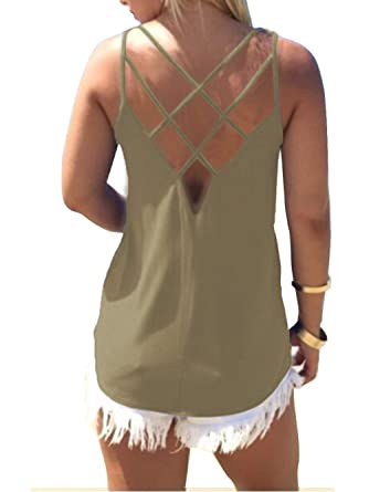 b5079cd97efa5 Women's Cute Criss Cross Back Tank Tops Loose Hollow Out Camisole Shirt  (Small, Army
