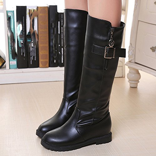 Heels Shoes Side Black Hatop Women Women Ladies Plush Martin Zip Flat With Boots Boots Ankle Boots 6wqxTO