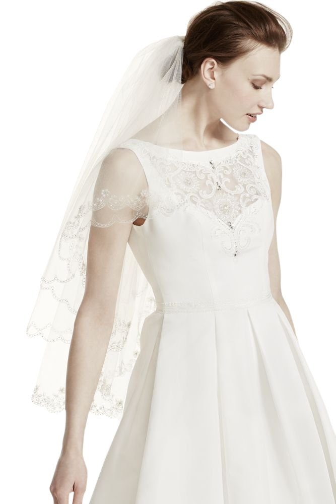 Fingertip Length Two-Tier Veil with Scallop Edge Style 689, White