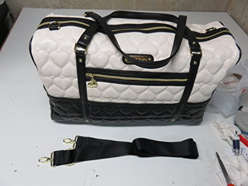 Betsey Johnson Be Mine Quilted Carry On Weekender Travel Duffel Bag - Cream/Black