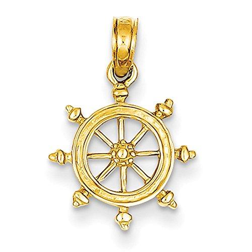 Ships 14k (14k Yellow Gold Ship Wheel Pendant K3066)