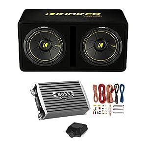 "Kicker Dual 10"" Subwoofer Enclosure + Boss Armor 1500W Monoblock Amplifier w/Remote + Wiring Kit"
