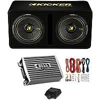 Kicker Dual 10 1200W 2-Ohm Sub Enclosure + 1500W Monoblock Amp w/ Wiring Kit