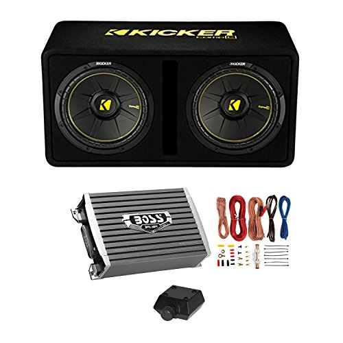 "Kicker Dual 10"" Subwoofer Enclosure + Boss Armor 1500W Monoblock Amplifier w/Remote + Wiring Kit"