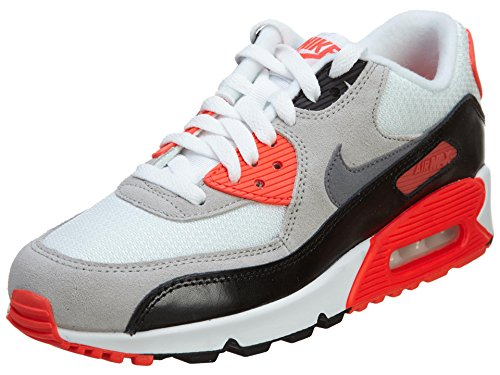 Nike Air Max 90 Prem Mesh (GS) Scarpe Sportive, Ragazzo Azul / Blanco / Naranja / Negro (Dp Ryl Blue / Wht-lt Crmsn-blck)