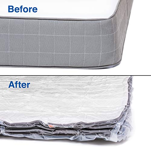 Mattress Vacuum Bag for Moving and Shipping/Returns (Works with Any Vacuum Cleaner) Compresses Mattress to 1 Inch, Double Zip Seal & Leakproof Valve Queen/Full/Full-XL/Twin/Twin-XL