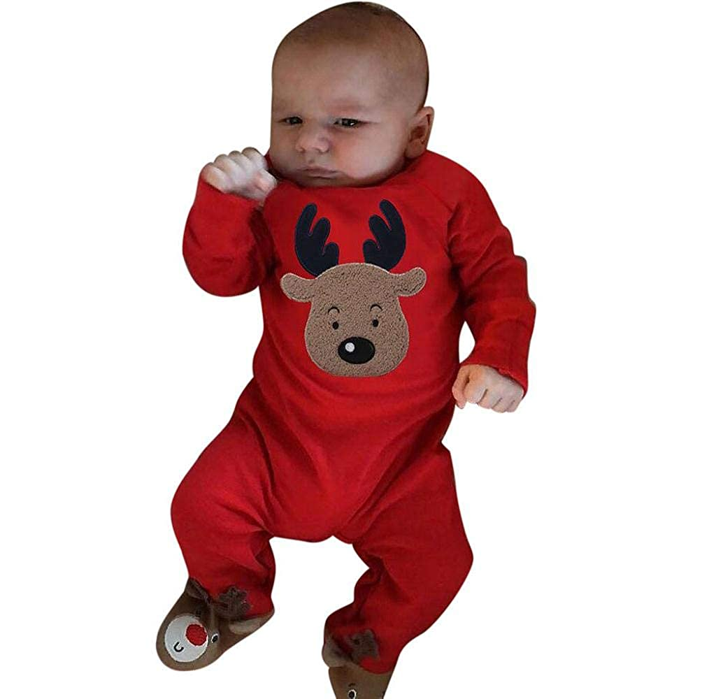 FIRSS-M/ädchen Elch Drucken Strampler Overall Kleidung Rentier Weihnachtsmotiv Pyjama Outfits Kleinkind Baby Langarm Weihnachtskost/üm