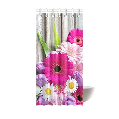Purple Pink White Flower Daisy Waterproof Bathroom decor Fabric Shower Curtain Polyester 36 x 72 inches by Christian Shower Curtain
