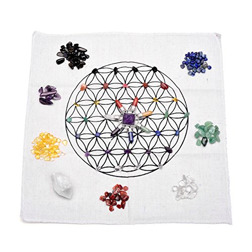 Top Plaza 7 Chakra Healing Crystals Grids Kit W/Amethyst Pyramid Energy Generator,Clear Quartz Crystal Wand,Flower Of Life Sacred Geometry Crystal Grid Altar Cloth,Lot of Assorted Tumbled Stones, ()