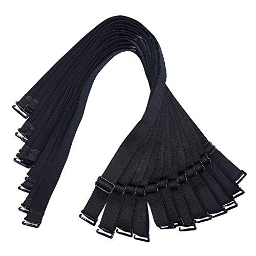 Black Bra Straps - 15mm / 18mm Wide Shoulder Bra Straps Elastic Adjustable Black White Beige 3 Pairs (18mm Width (6pairs Black))