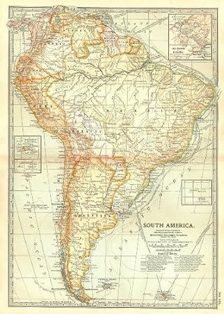 Map Of America Before Columbus.Amazon Com South America Shows Explorers Routes Columbus Vespucci