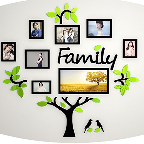 Hty xk Photo Frame Acrylic 3D Wall Sticker Creative Tree Photo Memory Tree Wall Stickers Living Room Sofa Background Wall TV Wall Decoration 180cm-180cm (Color : - Your Luck Make Sticker Own