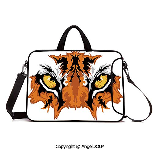 AngelDOU Neoprene Laptop Shoulder Bag Case Sleeve with Handle and Extra Pocket Tiger Eyes Graphic Mascot Animal Face Bengal Cat African Safari Predator Theme D Compatible with MacBook/Ultrabook/HP/A