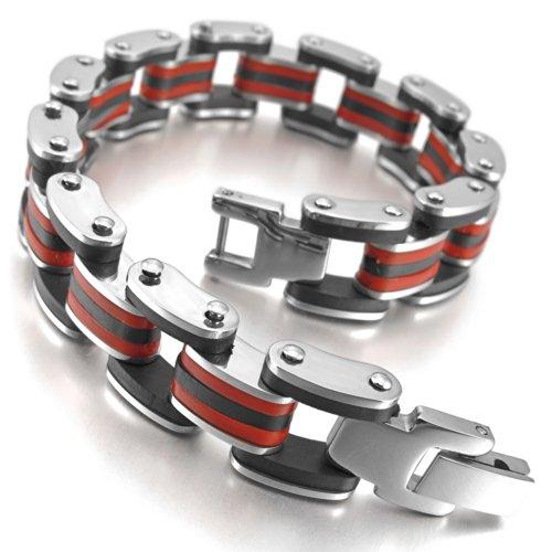 INBLUE Stainless Rubber Bracelet Silver