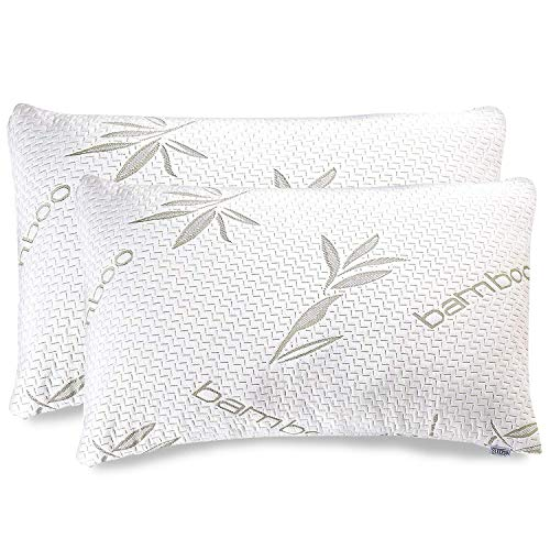 Bamboo Pillow – Shredded Memory Foam Pillow – Premium Pillows for Sleeping with Washable Pillow Case- Adjustable (2-Pack…