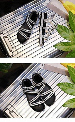 Zapatos Medio Planas Plano Romanas de 5Cm Redonda Tacón Beach de Parte para Air Bohemian Joker 3 Sandalias Superior Moda Sandalias Tacón de Baja Cabeza Sandalias Goma Viscosa Serpiente Mujer Cerrojo xIdIg1T