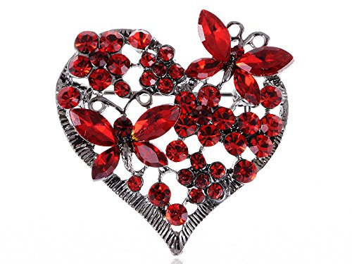 Alilang Womens Floral Butterfly Heart Silvery Tone Brooch Pin with Swarovski Crystal Rhinestones - Available In Red, Pink, Lavender, Blue or Clear Colors!