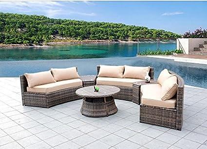 amazon com curved outdoor wicker rattan patio furniture set w rh amazon com